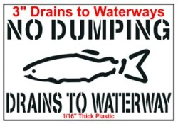 "3"" 60 Mil. Drains to Waterways Stencil 10pk"