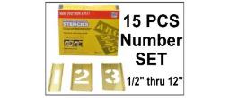 Brass Interlocking Numbers Only - 15 Piece Set